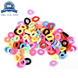 Hair Bands Ties Elastics Girls Women, 100 PCS Random Colors, No Crease Ponytail Holders, Tiny Soft Rubber Bands for Girls Women, Small Size No Aches Durable Hair Accessories (random color)
