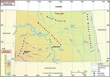 Amazon.com : North Dakota Physical Map - Laminated (36\