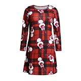 Swing Dress for Women Christmas Mommy & Me Women Lady's Cartoon Animal Print Dress Family Clothes Red S