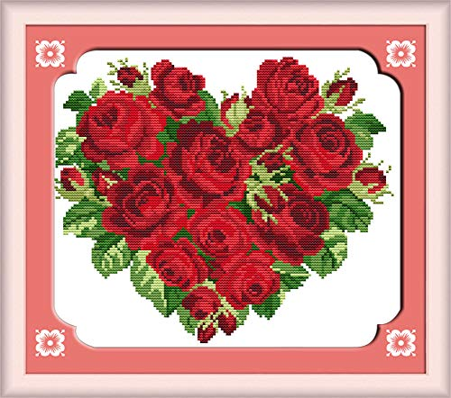 (LanMent Rose Hearts Stamped Cross Stitch 14CT Counted Kits Cross-Stitching Pattern Embroidery for Beginner Adults Home Decor Birthday Gift 12.6 x 11 inches)