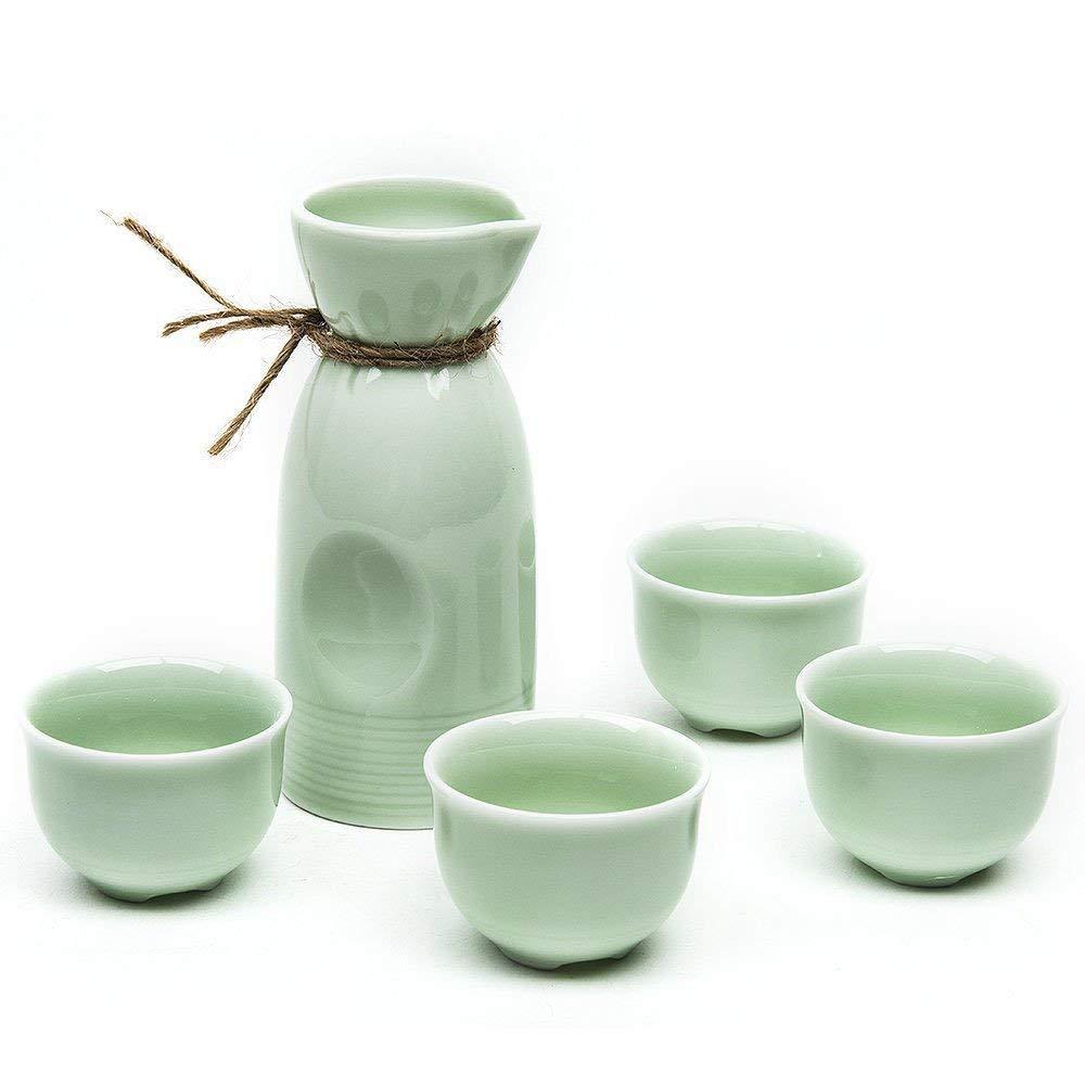 Ensemble de coupe à saké japonais de 5pièces Peint à la main Motif fleurs Porcelaine poterie traditionnelle en céramique Tasses Crafts Verres à vin (lumineux Céladon) Old Craftsmen' s