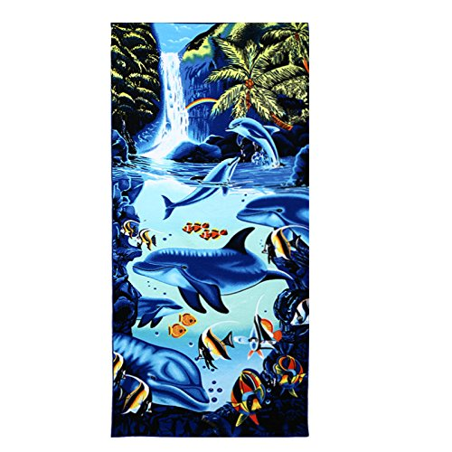 Waterfall Dolphin (Battilo Oversized Extra-Large Waterfall Dolphin Microfiber Beach Towel, 39