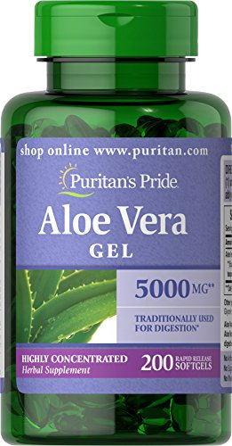 Puritans Pride Aloe Vera Extract 5000 Mg Softgels, 200 Count