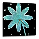 Cheap 3dRose Turquoise Flower – Fun Floral Art – Wall Clock, 15 by 15-Inch (dpp_50657_3)