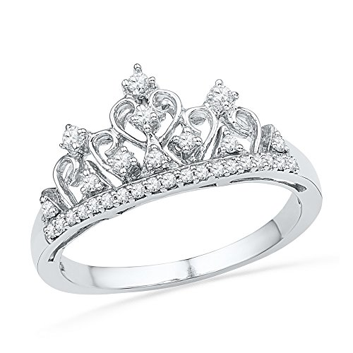 Size - 7 - Solid 10k White Gold Round White Diamond Prong Set Curved Crown Wedding Band OR Fashion Ring (1/5 cttw)