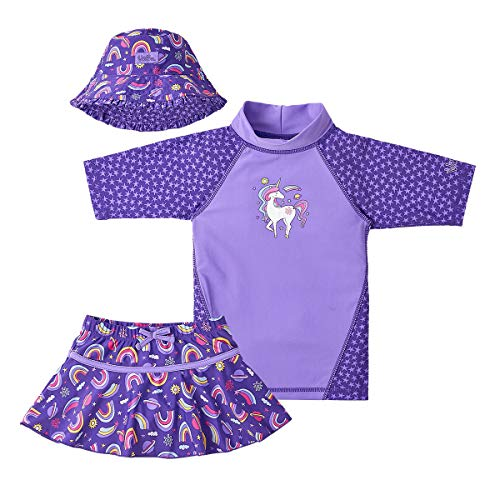 UV SKINZ UPF 50+ Girls 3-Piece Swim Set (7, Purple Unicorns) (Toddler Girls Swim Skirt)
