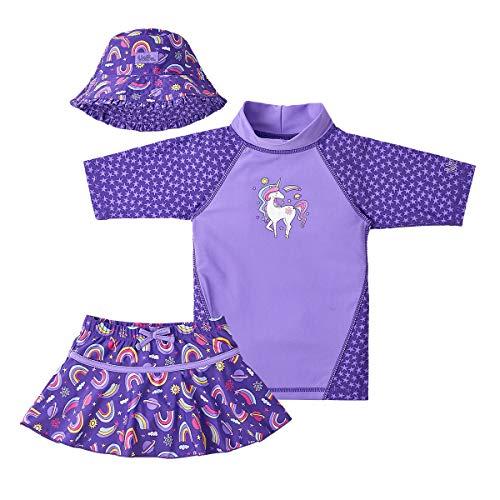 UV SKINZ UPF 50+ Girls 3-Piece Swim Set (7, Purple Unicorns) -