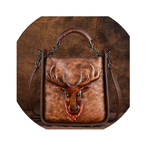 Genuine Leather Messenger Bag Crossbody Bags for Women Animal Print Tote Luxury Shoulder Handbag Female Top Handle Bag,Coffee