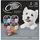 Cesar Savory Delights Wet Dog Food Rotisserie Chicken, Filet Mignon, Angus Beef, and Ham & Egg Flavors Variety Pack, (Pack of 24) 3.5 oz. Trays