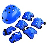 Kids Sports Safety Protective Gear Set, RuiyiF 7Pcs Set Children's Elbow Pad Knee Pads Wrist Guard Helmet for Scooter Skateboard Skating Blading Cycling Riding - Blue