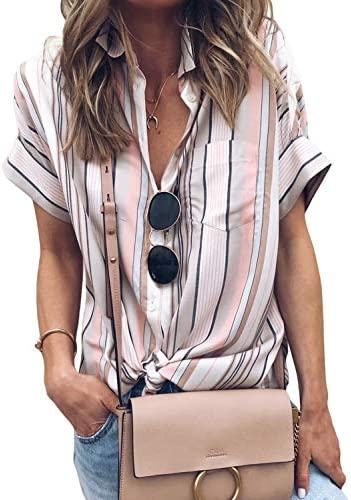 HOTAPEI Womens Casual Striped Blouses