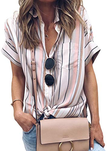 HOTAPEI Womens Blouses Short Sleeve Summer Casual V Neck Striped Cuffed Sleeve Button Down Collar Chiffon Shirts Work Tops - Winter Fashion Ladies Casual
