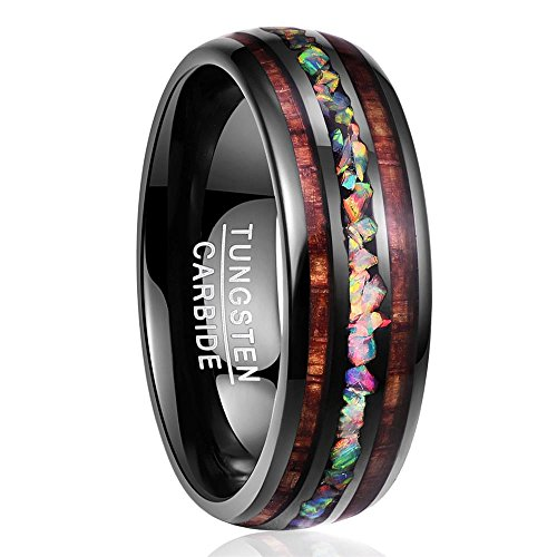 Nuncad Handmade Genuine Crushed Fire Opal Tungsten Wedding Ring with Hawaii Koa Wood Domed Black Size 9.5 ()