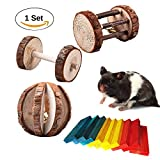 Bwogue Hamster Chew Toys,Natural Wooden Dumbells Unicycle Barrel Roller Ball with Bell for Birds Rabbits Hamster Rat Playing Chewing