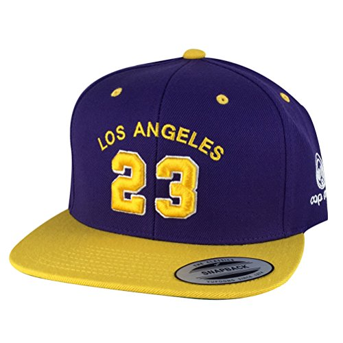 Los Angeles Player  23 X Lakers Color Snapback Hat Cap - Purple Gold Visor 4f7c3e71037d