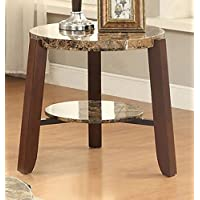 ACME Furniture 80958 Lilith End Table, Faux Marble & Cherry
