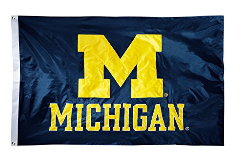(BSI NCAA Michigan Wolverines 2-Sided Nylon Applique Flag with Grommets, 3' x 5', Navy)