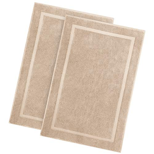 Cotton Craft - 2 Pack Luxury Bath Mat - Linen - 100% Ringspun Cotton - Oversized 21x34 Inch Heavy Weight 1000 Grams - 2 Ply Construction - Highly Absorbent - Soft Underfoot Easy Care Machine Wash (Bath Mat Cabin)