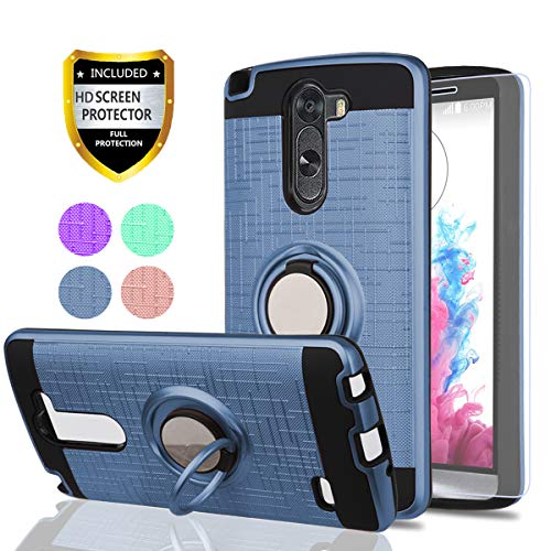 LG G3 Stylus Case,LG D690 Phone Cases (Not LG G3) with HD Phone Screen Protector,YmhxcY 360 Degree Rotating Ring & Bracket Dual Layer Resistant Back Cover for LG D690-ZH Metal Slate