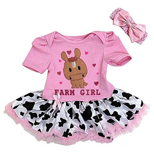 - Kirei Sui Baby Farm Girl Horse Cowgirl Bodysuit Tutu Headband Small Pink