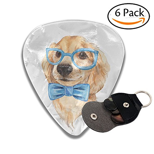 Wxf Cute Dog Sketch Blue Bow Tie Hand Painted Watercolor Illustration Stylish Celluloid Guitar Picks Plectrums For Guitar Bass .46mm 6 Pack Bow Tie Pickups
