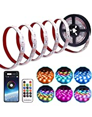 LED Strip Lights USB Powered LED Lights Strip Phone App Controlled RGB LED Lights Chase Effect Music LED Strip Rope Lights Waterproof Color Changing Lights Bluetooth Connect for Android and iPhone
