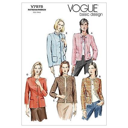 Vogue Patterns V7975 - Patrones de costura para chaquetas de mujer (talla FW: 48