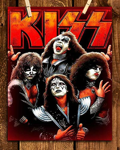 """Kiss Band- Poster Print- 8 x 10"""" Wall Print-Ready To Frame. Iconic Rock Band Sign Featuring the Members Paul, Gene, Ace & Peter. Home-Studio-Bar-Dorm-Man Cave Decor. Great Gift- Kiss Collections."""