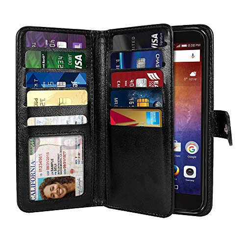 NEXTKIN Ascend XT H1611 Case, Leather Dual Wallet Folio TPU Cover, 2 Large Pockets Double flap Privacy, Multi Card Slots Snap Button Strap For Huawei Ascend XT H1611 - Black
