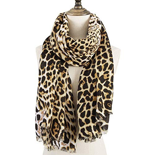 (Fashion Leopard Pattern Scarf for Women Unique Ladies Animal Print Scarves Shawl And Wraps Oversized - 75 X 40 Inches by)