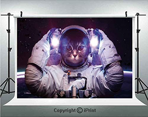 (Space Cat Photography Backdrops Kitty in Cosmonaut Suit in Galaxy Stars Supernova Design Image,Birthday Party Background Customized Microfiber Photo Studio Props,10x6.5ft,White Purple and Dark Blue)