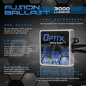 Optix 35W HID Xenon Headlight Conversion Kit Slim Digital Ballast - 1 pair - 9007 HB5 - 8K 8000k Iceberg Blue