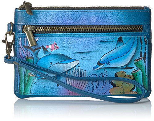 Dolphin Purse - Anna by Anuschka Hand Painted Leather Wristlet Organizer Wallet | Playful Dolphin