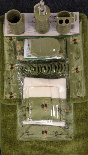 Piece Bath Accessory Set Sage Green Bath Rug Set Shower Curtain - Sage green bathroom accessories