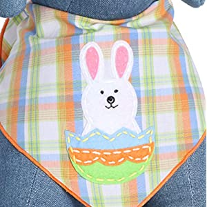 Tail Trends Easter Dog Bandanas with Easter Bunny Design - 100% Cotton (L)