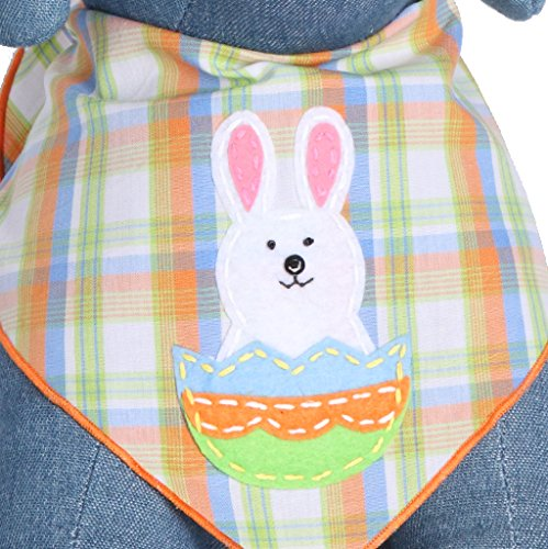 Tail Trends Easter Dog Bandanas with Easter Bunny Design - 100% Cotton (Easter Bandana)