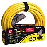 Utilitech Pro 50-ft 15-Amp 120-Volt 3-Outlet 12-Gauge Yellow Outdoor Extension Cord