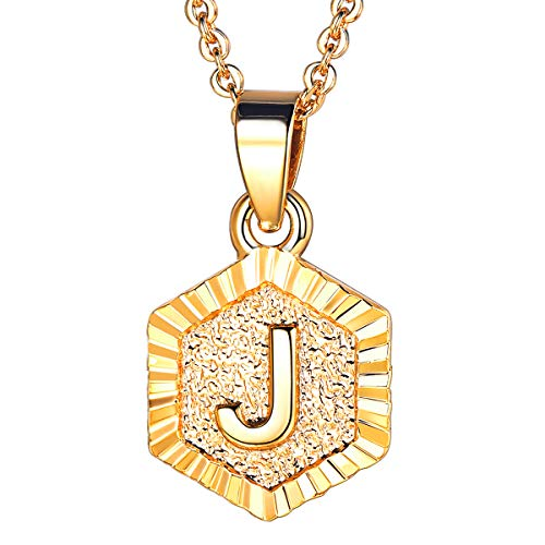 (FOCALOOK J Initial Necklace Tiny Alphabet Charm 18K Gold Plated Letter Monogram Jewelry for Women)