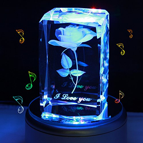 LIWUYOU Colorful Rose 3D Crystal Music Box I Love You Romantic Valentine's Day Gifts, Bluetooth Base (3 Yellow Love Roses)
