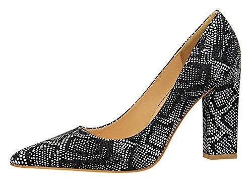 Patrón De Serpiente Sexy De Las Mujeres De Aisun Puntiagudo Del Dedo Del Pie Puntiagudo Corte Bajo Grueso Tacón Alto Resbalón En Las Bombas Zapatos Negro