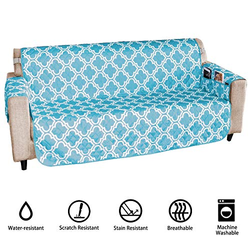 Whoobee Sofa Cover Couch Protector - Deluxe Reversible Quilted Water Resistant Protective Couch Sofa Shield Covers Pets Furniture Protector Slipcover for Dogs Cats Kids Children - Blue, Sofa