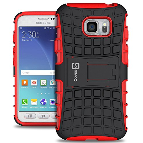 Galaxy S7 Active Case, CoverON [Atomic Series] Hybrid Armor Cover Tough Protective Hard Kickstand Phone Case for Samsung Galaxy S7 Active - Red & (Att Cover)