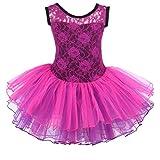 Meeyou Little Girls' Flower Ovelay Ballet Tutu Dress(L,Wine)