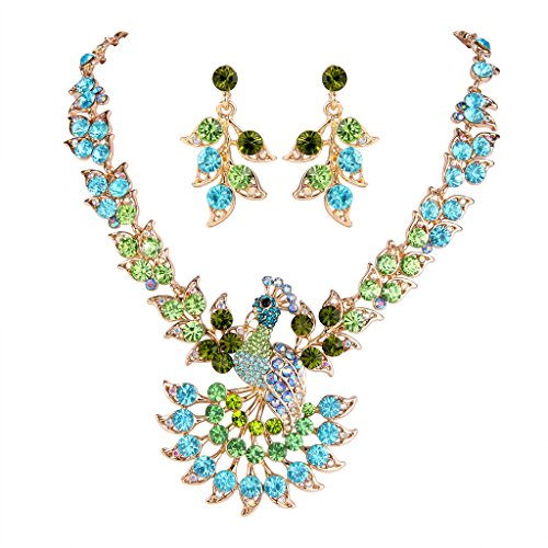 EVER FAITH Women's Austrian Crystal Peacock Feather Animal Necklace Earrings Set Green w/Blue Gold-Tone
