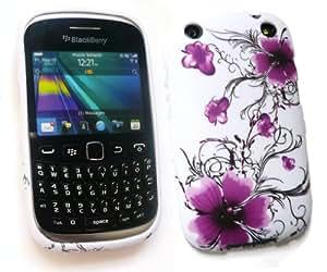 Emartbuy Value Pack Para Blackberry Curve 9320 Protector De Pantalla Lcd + Gel Violeta Flores De La Piel Cubierta De A + Compatible Con Micro Usb Car Charger