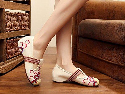 WXT Zapatos bordados, lenguado de tendón, estilo étnico, zapatos de tela femenina, moda, cómodo, zapatos de baile beige