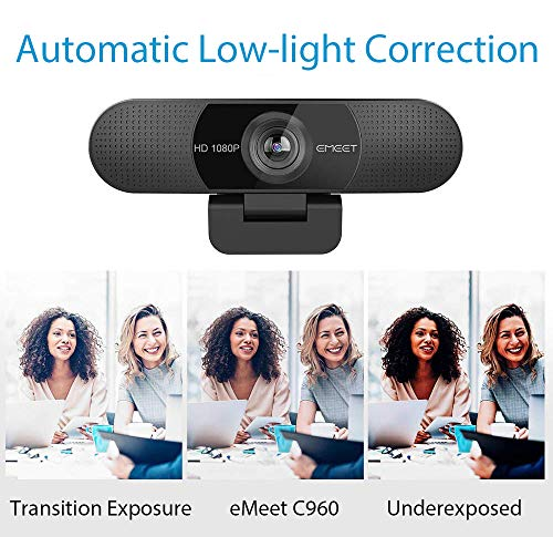 1080P Webcam with Microphone, C960 Web Camera, 2 Mics Streaming Webcam, 90°View Computer Camera, Plug and Play USB Webcam for Online Calling/Conferencing, Zoom/Skype/Facetime/YouTube, Laptop/Desktop
