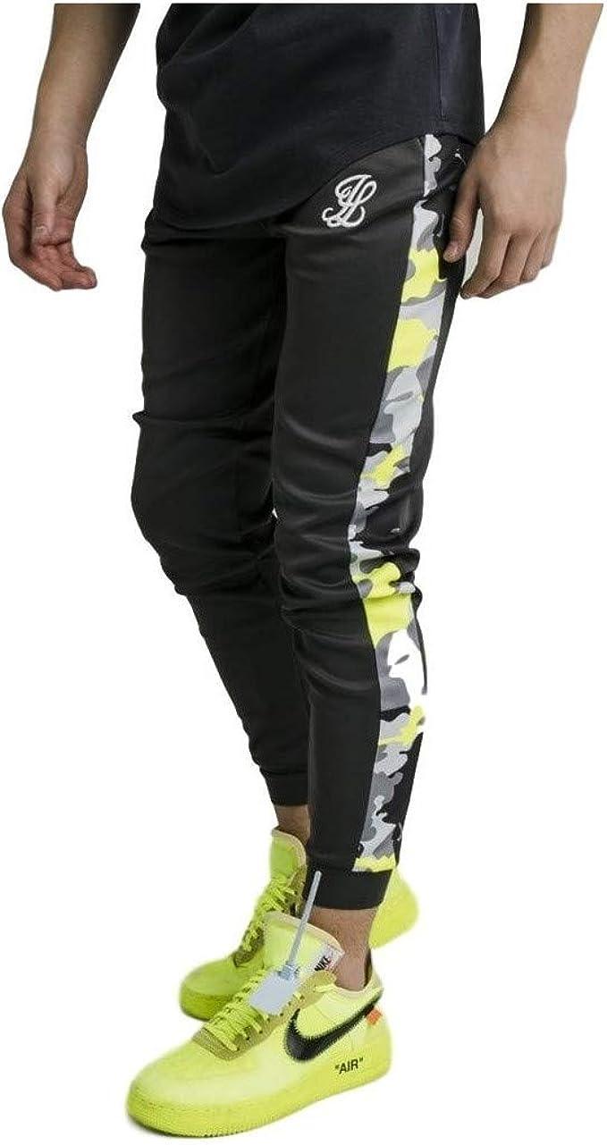 Illusive London Pantalon de Chandal Gris y Verde neón: Amazon.es ...