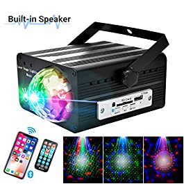 Flysight Disco Ball, Rotating Disco Ball Lights, Party Lights,Sound Activated LED Party Lights with Bluetooth Speaker,Disco Light, Portable LED Disco Light with Remote for Home Dance Kids Gift(Black)