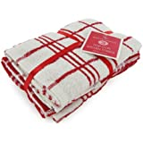 New Pack Of 3 Red & White Check Kitchen Tea Towel Set